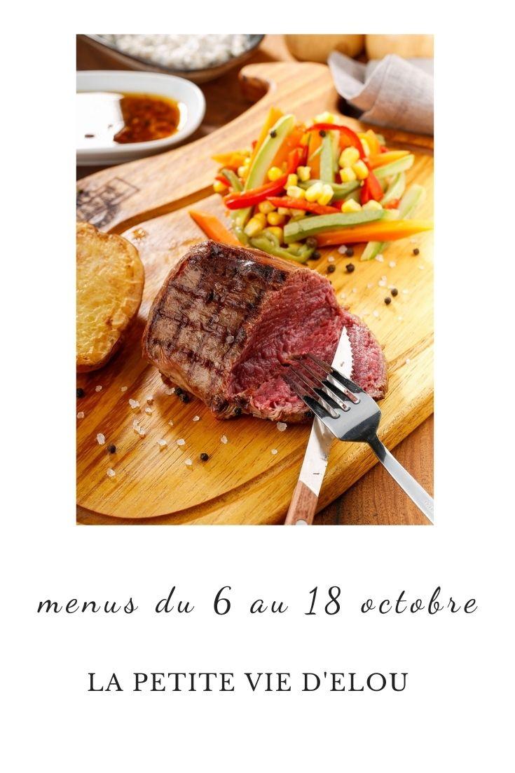 menus du 6 au 18 ocobre