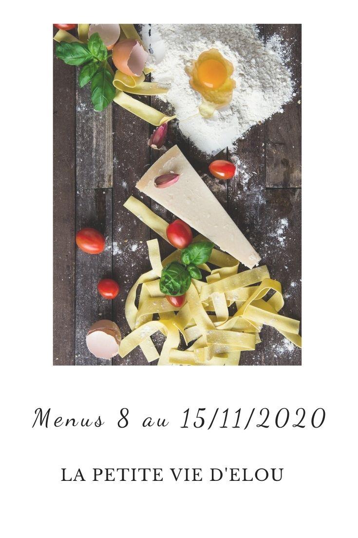 menus du 8 au 15 novembre